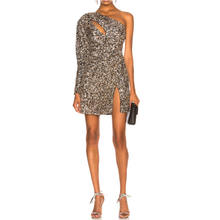 Custom latest women cut out one shoulder sexy party glitter sequin dress