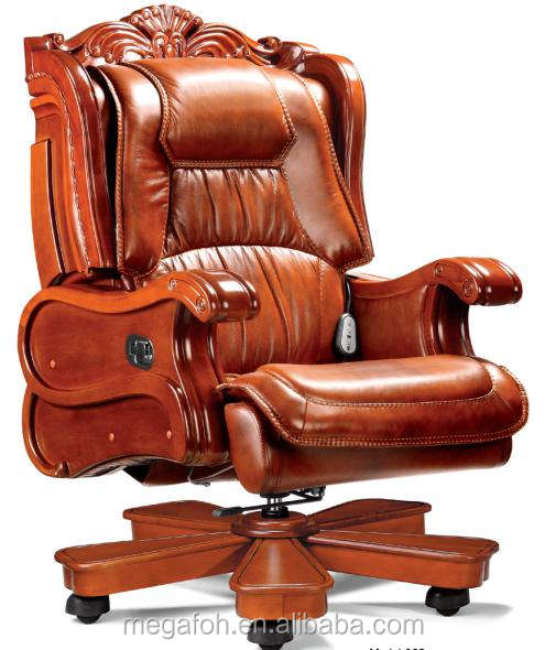 Antique luxury genuine leather office swivel king throne chair for sale,FOH-A02