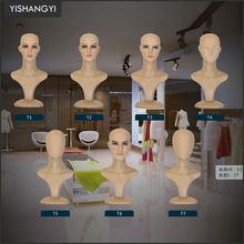 beautiful wholesale fiberglass wig display long neck faceless white mannequin head with shoulders