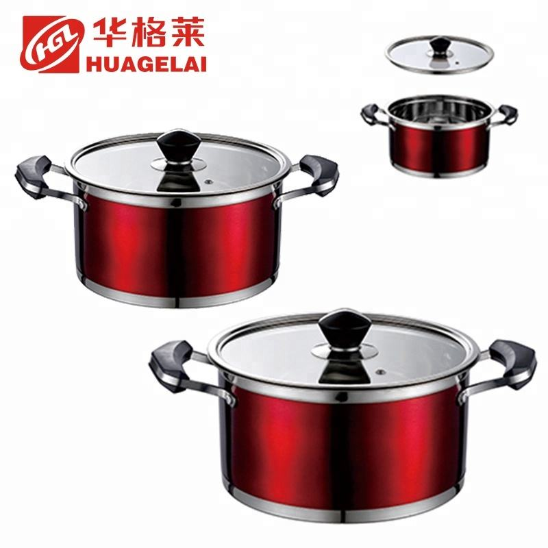 red round soup stainless steelcooking pots parts with glass lid