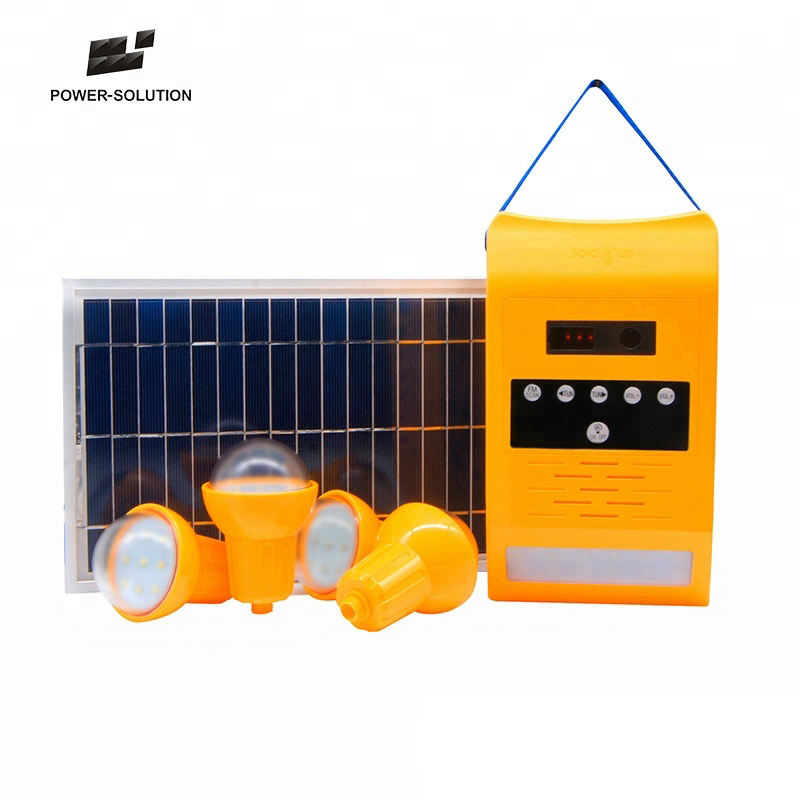 Portable Solar energy system Home LED Lighting Kits with Radio and Wall Light