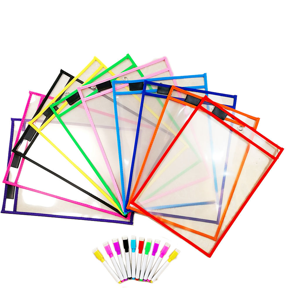 NEW Assorted Colors 10x 14 Inches Reusable Dry Erase Pockets with exercises with rings