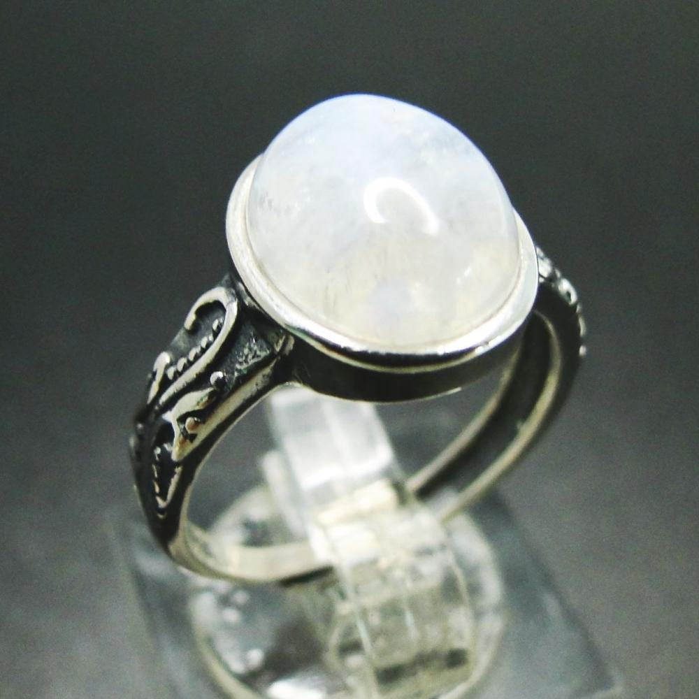 925 Solid sterling silver ring wholesale gemstone antique moonstone ring for women exquisite moonstone jeweller
