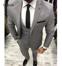 Custom Simple 3 Piece Made In China Gray Doubled Vest Business Men Suit YF064