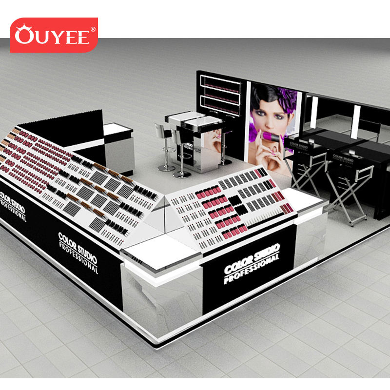 High- end mall kiosk stijlvolle cosmetische make-up display stand