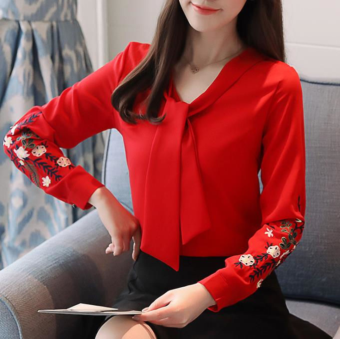 zm51507b spring new embroidery woman blouse plus size long sleeve tops lady v neck t-shirt