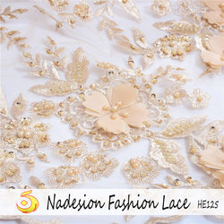 In-stock peach dubai women dress fabric lace beaded tulle embroidery