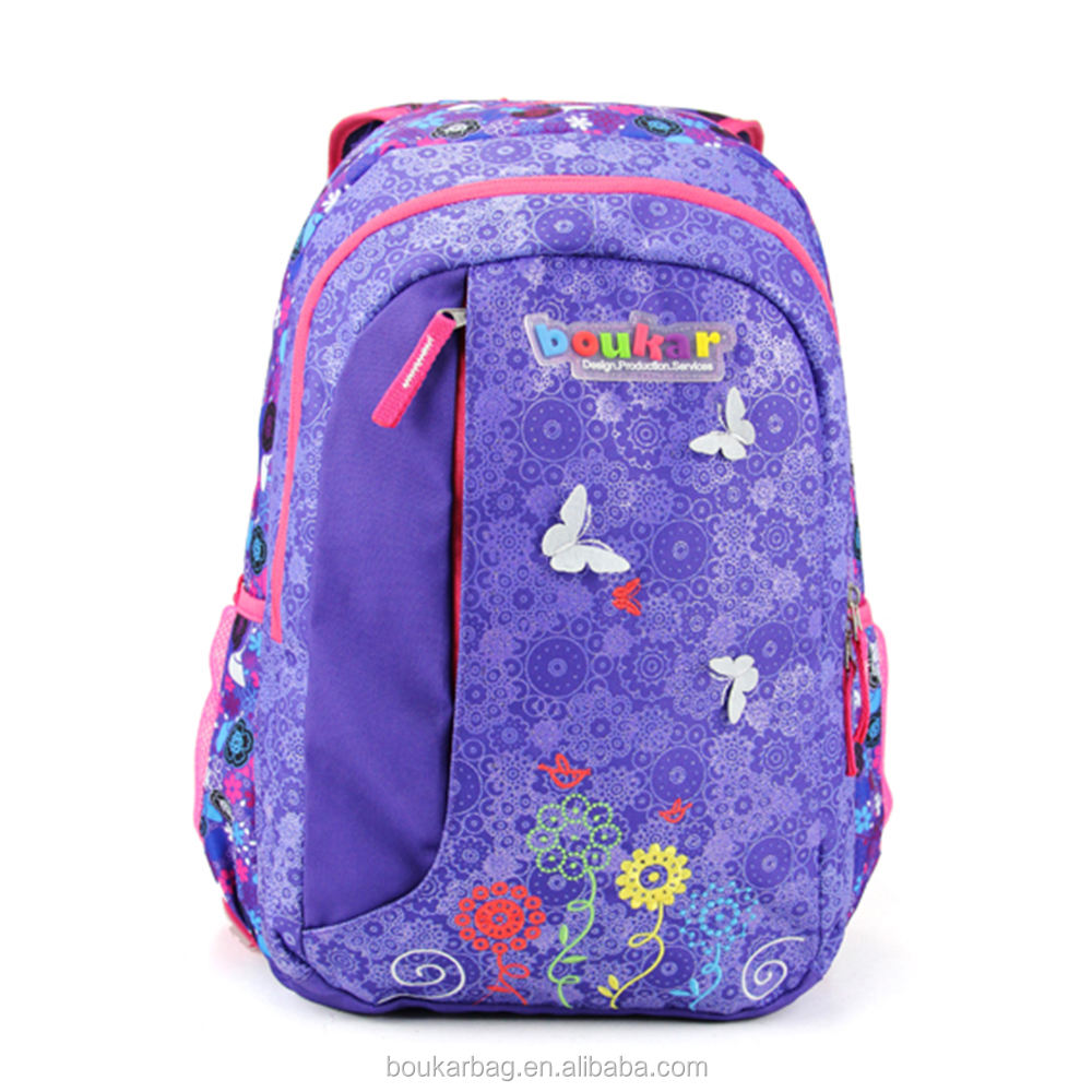 Butterfly cotton backpack kid rucksack pull double shoulder bags for school teenage girls