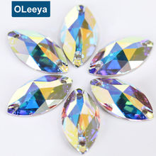 Factory 5A Quality High Shinny Crystal AB Navette Sew On Rhinestones for Women Dresses