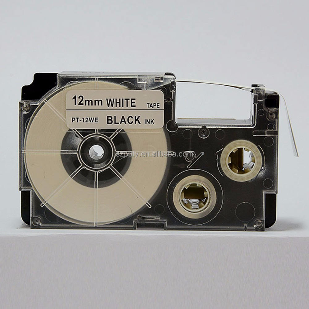 Puty China Supplier 12mm Black On White PT-12WE XR-12WE Compatible Tape Cartridges for KL-750 KL-750E Label Printer