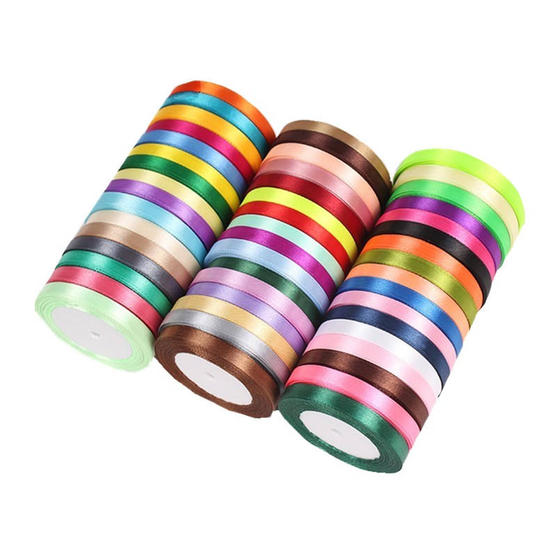 Gift packing party wedding decorative wholesale 3/8 inch 10mm thin single face satin ribbon