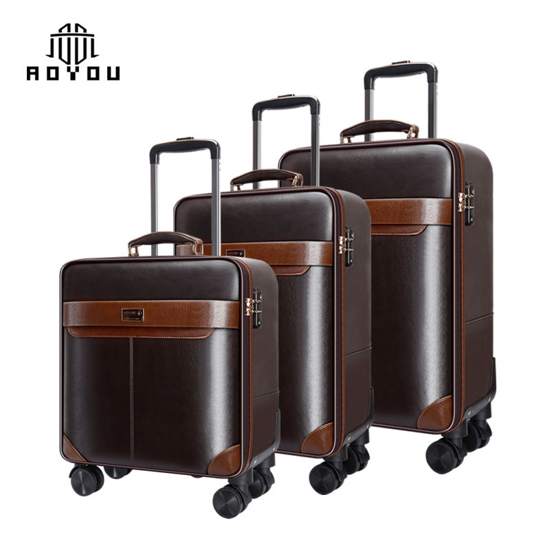 Hot-selling luggage suitcase Polyurethane leather pull rod luggage set pull rod suitcase 3 sets