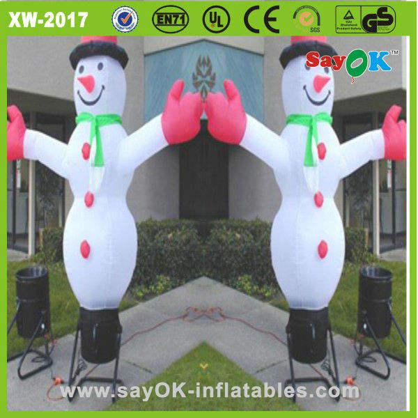 Blanco rip- parada de nylon del muñeco de nieve bailarín del aire/de lavado de coches bailaríninflable del aire