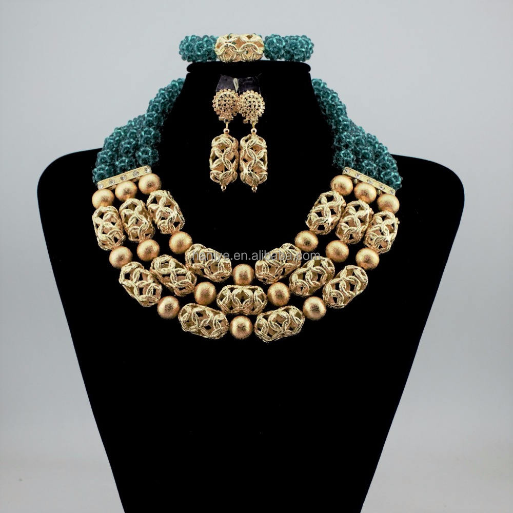 Nigerian jewelry set rani haar Fashion African beads bridal jewelry set for wedding women jewelry set with beads
