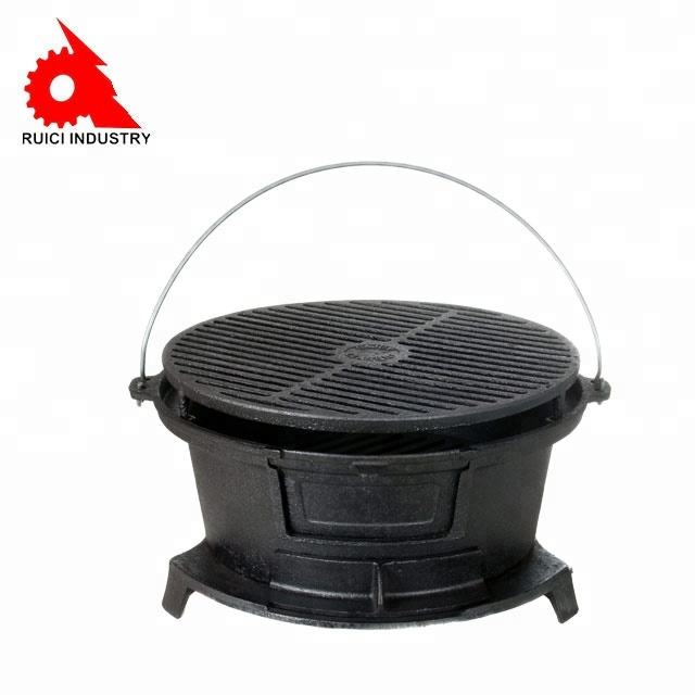 Großhandel outdoor BBQ runde emaille gusseisen hibachi grill
