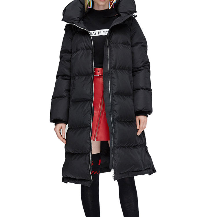 80% goose down ladies plus size long feather down filled coat