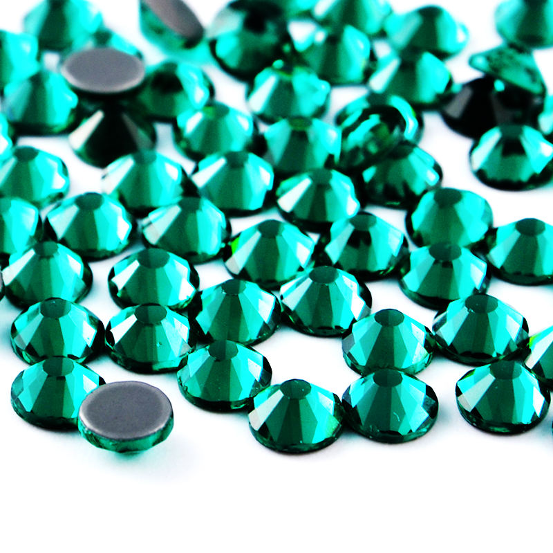 Crystal Castle Hot Fix Crystal Highest Color Rhinestones Green Hotfix Strass Glue Back Glass Rhinestone For Shoes