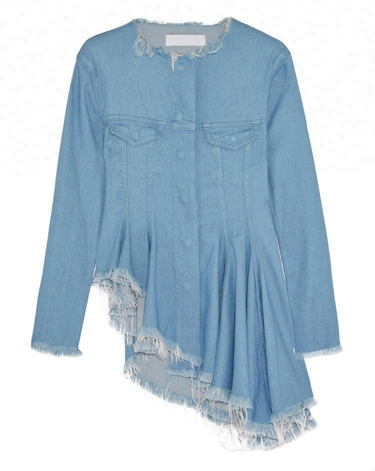 Royal wolf denim garment manufacturer light blue snap on fashion ruffle womens peplum denim jacket