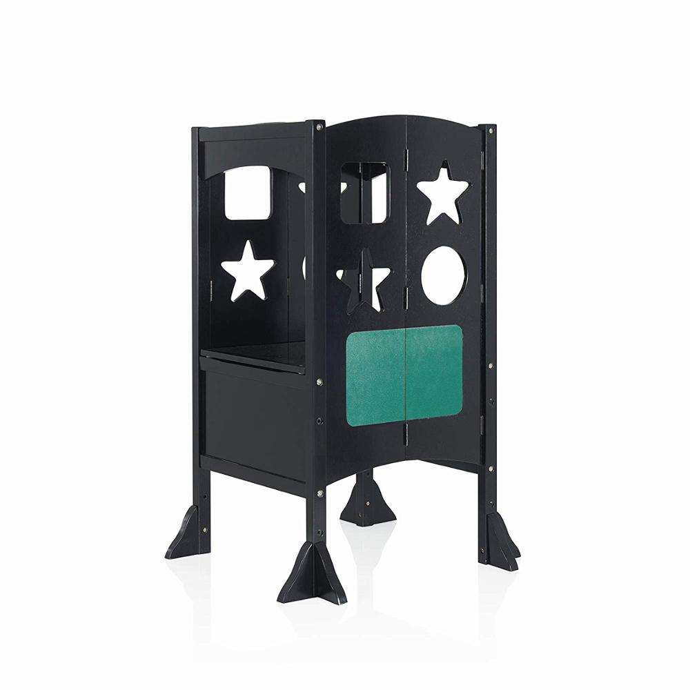 Solid Wood Plywood Black Color Convertible Kitchen Step Stool Foldable Learning Tower Folding Learning Tower With Black Board