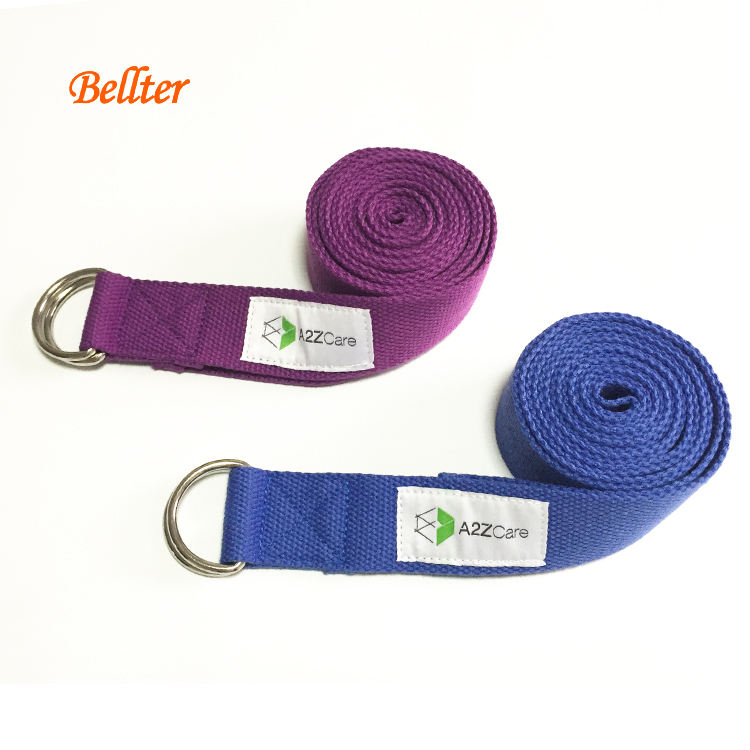 Cotton Yoga Strap 8 foot with Metal D-Ring available in multiple colors