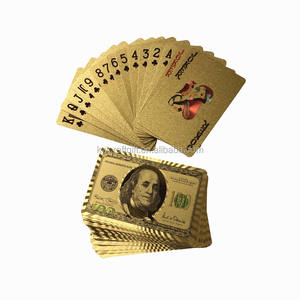 24k Gold foil US dollar playing cards gold poker cards for promotion
