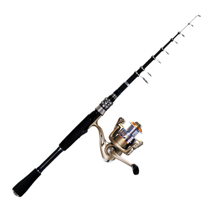 Trolling fishing rod kit Carbon telescopic spinning fishing rod and reel combo set for lure fishing