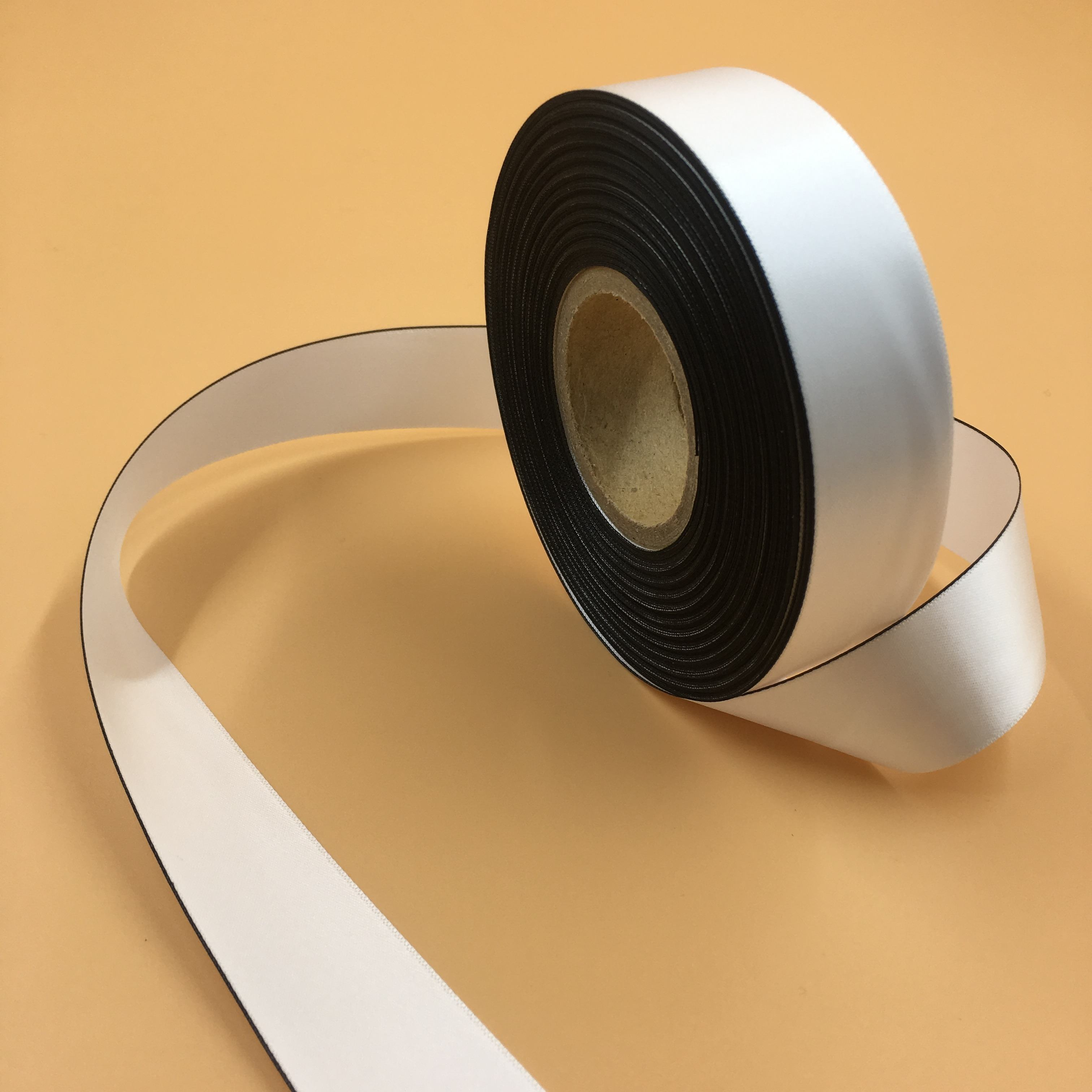 black edge double face side white satin ribbon for label material