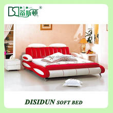 bed leather bed modern bed bedroom furniture, pink leather bed frame, red leather bed frame DS-858