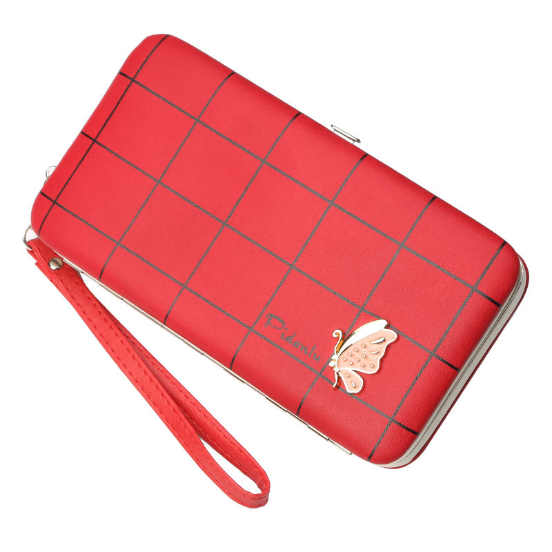 women pu leather gents purse euro coin holder rfid slim credit card cheque book holder wallet for phone
