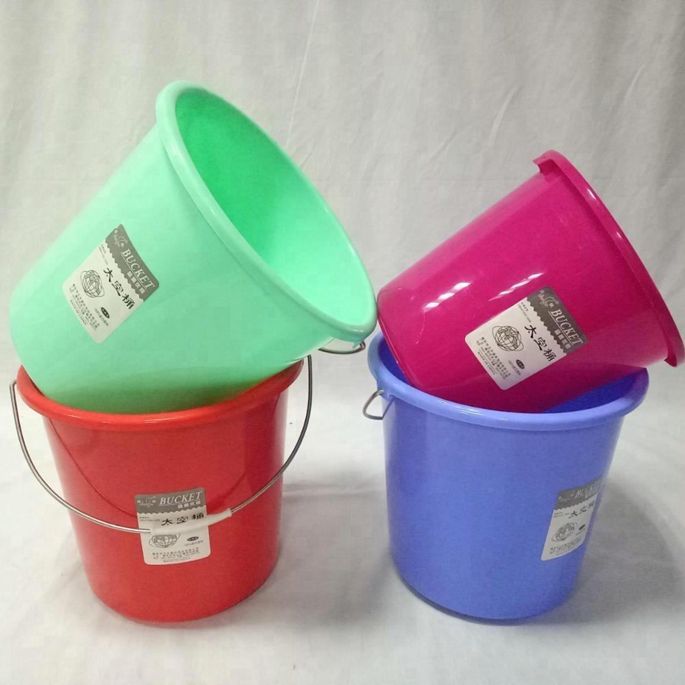 13L plastic bucket cheap with lid water bucket with mental handle