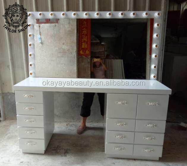 Salon styling station mirror station desk make up mirror with lamp