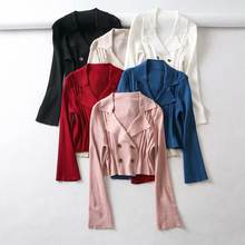 Z12687A Solid color suit collar double-breasted women sweater coat