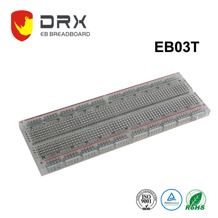 830 points transparent plastic electronic breadboard EB03T