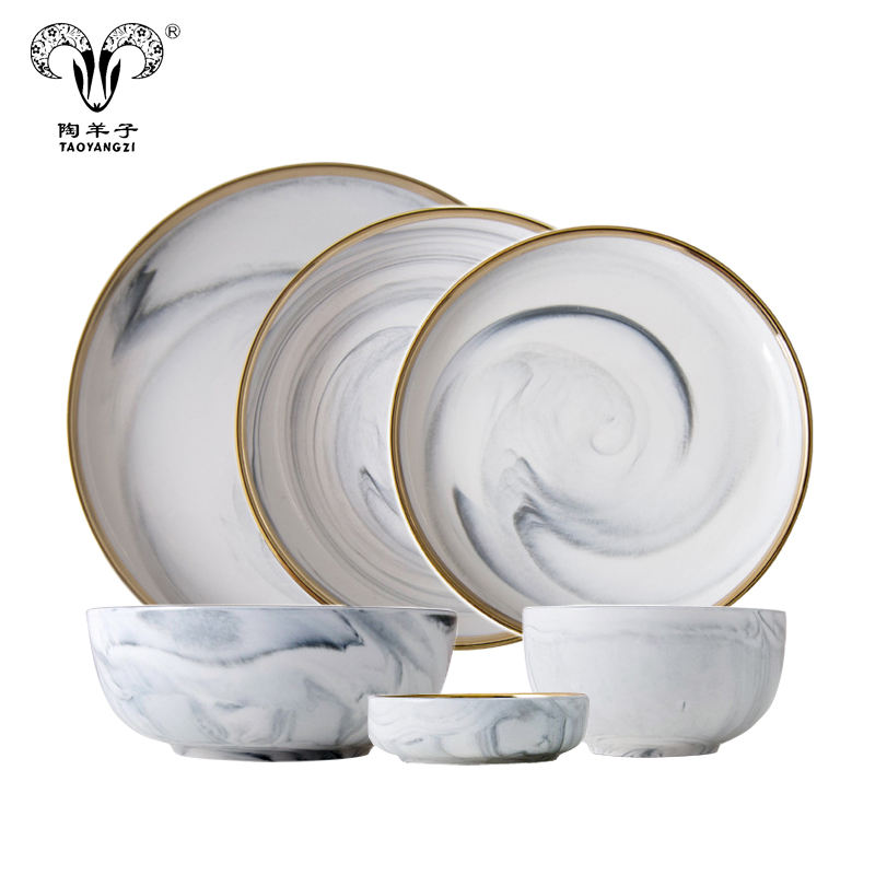 Hot selling 2018 new design tableware marble Porcelain Ceramic Wedding Charger Plate set dinnerware set