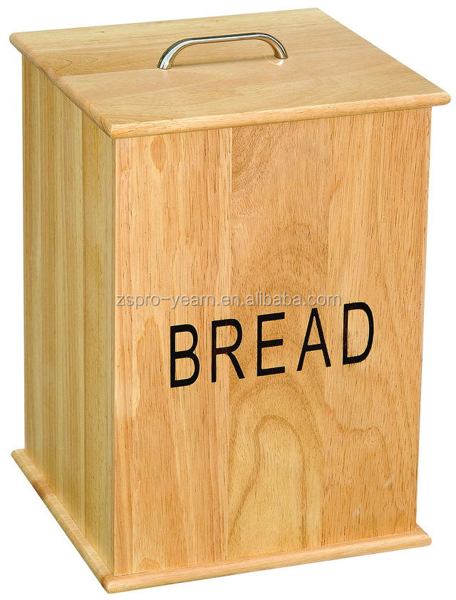 Custom Vertical Wood Bread Storage Bin with Removable Lid and Handle for Bread and Cake Storage