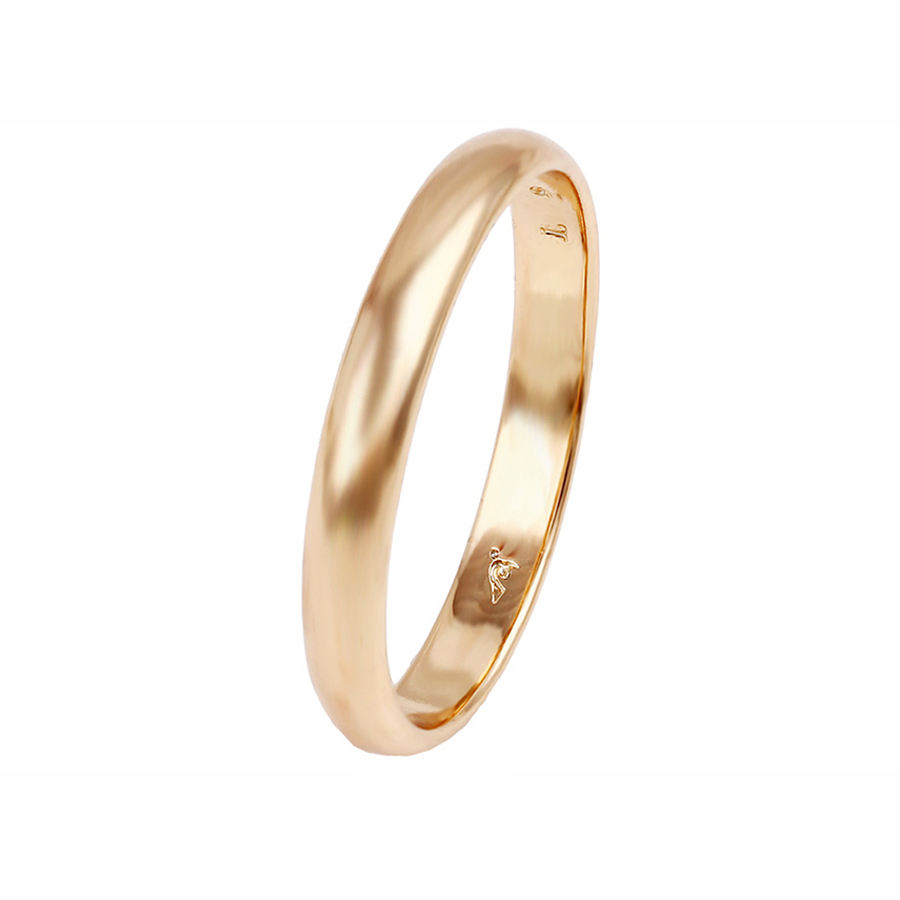 13766 wholesale high polish 3mm 18k gold Comfort Fit Plain Wedding Band Ring for women