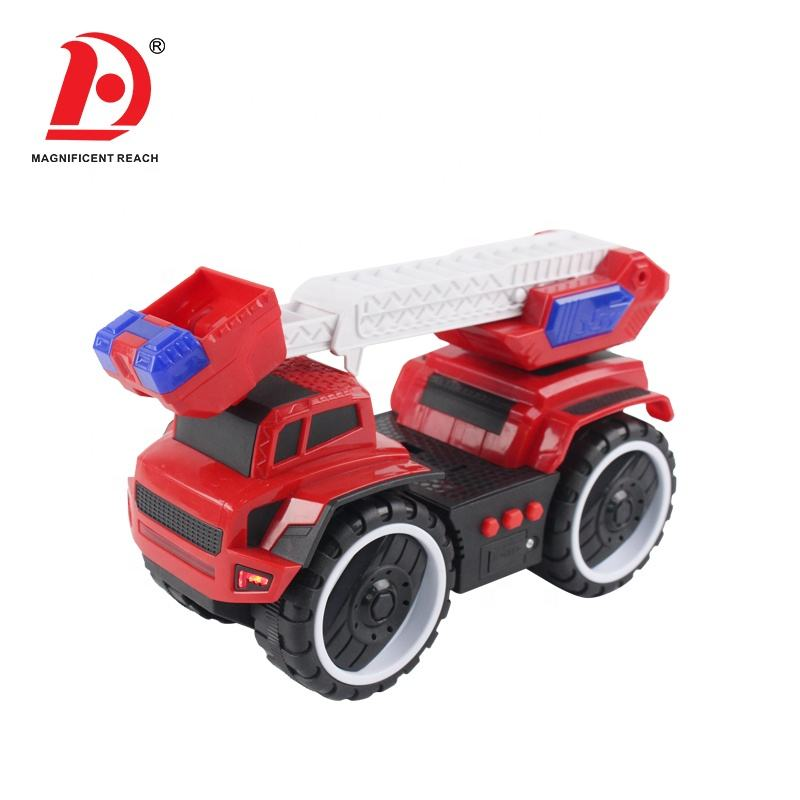 HUADA 2020 Plastic Big Tires Mini Friction Inertia Ladder Fire Truck Toy Car for Baby with Light & Sounds