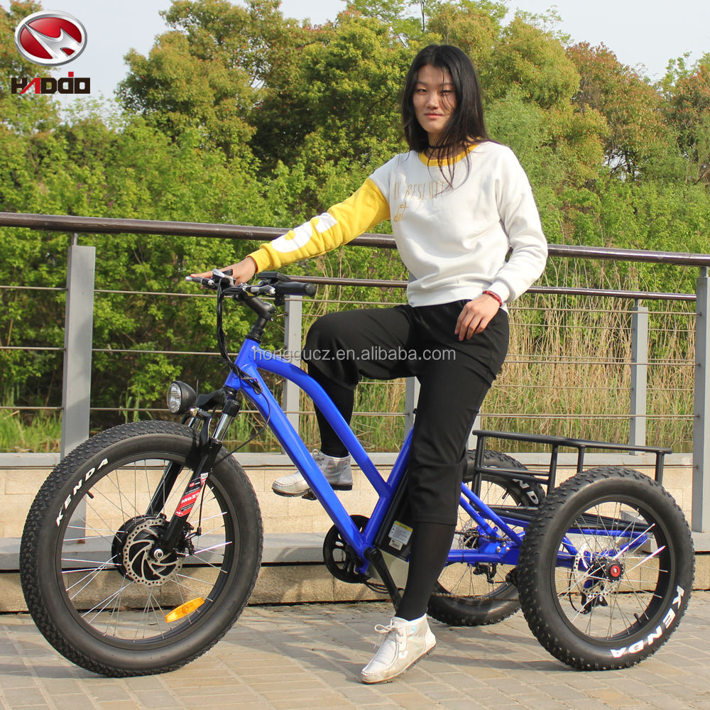 24 inch fat tyre 3 wheelS electric catgo bike /tricycle /trike with disc brakes