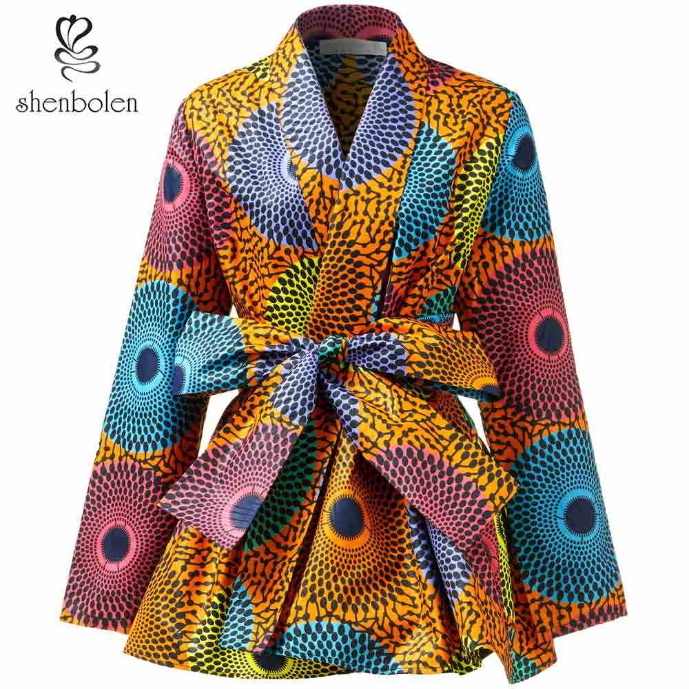 2019 Spring Latest Long Sleeve Tops for Women Blouse African Ankara Print Styles Casual Daily Wear Wholesale