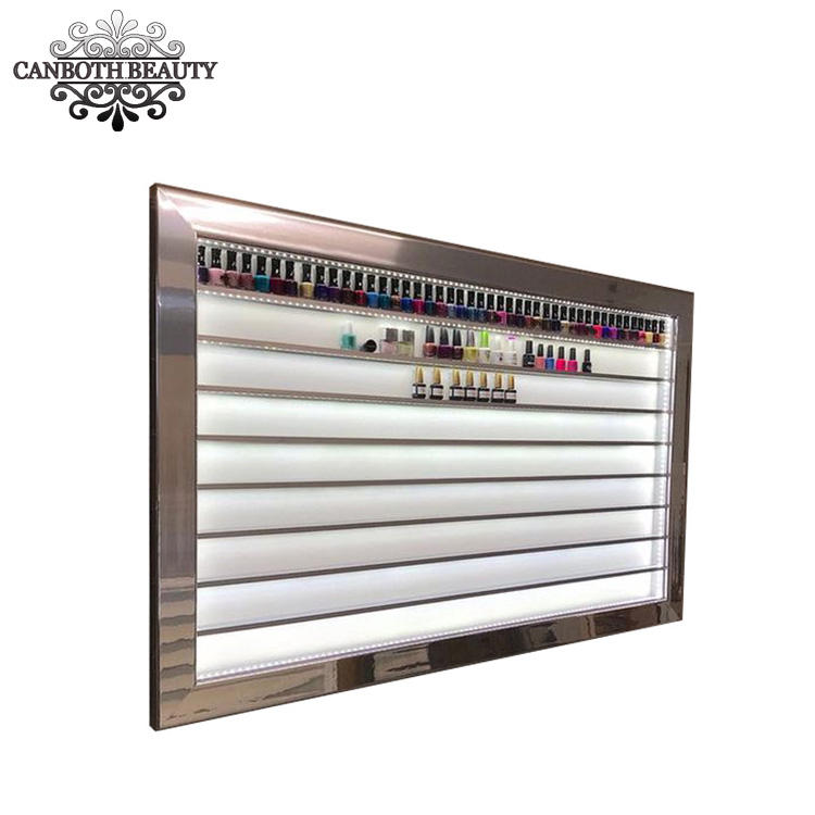Custom Nail Varnish Display with LED light & nail shop wall nial polish rack of beauty salon CB-NK018