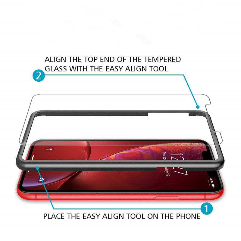 Screen Protector Designed for iPhone XR Premium HD Clarity 0.25mm Tempered Glass with Easy Installation Alignment Case Frame