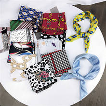 CLARMER Instagram Fashion Summer Spring Neck Scarves Accessories Colorful Pattern Stripe Square Silk Scarf For Women