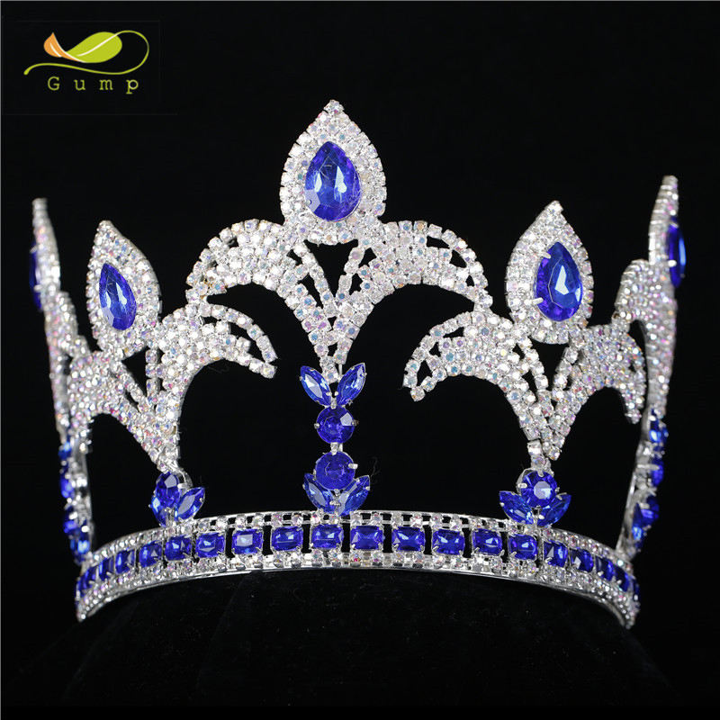 "Queen Princess 5.5"" Tiara Blue and Clear Rhinestones Crystal Handmade Crown Bridal Prom Pageant Party Costumes"