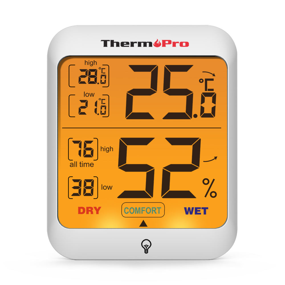 ThermoPro TP53 Digital Weather Thermometer Hygrometer Temperature and Humidity Sensor with Backlit LCD Display