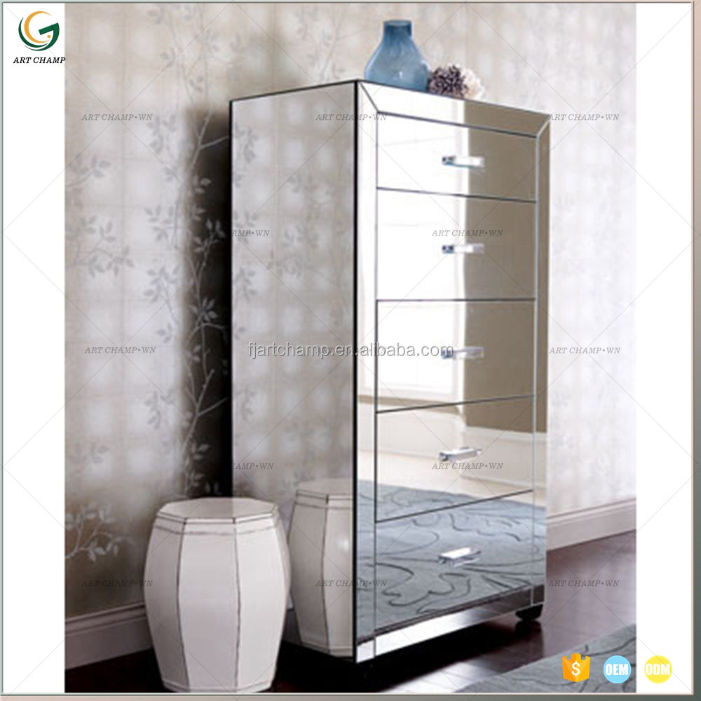 5 drawers modern bedroom chest cabinet mirrored furniture