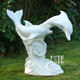 Garden Outdoor Large White Marble Dolphin Fountain Sculpture Statue For Swimming Pool