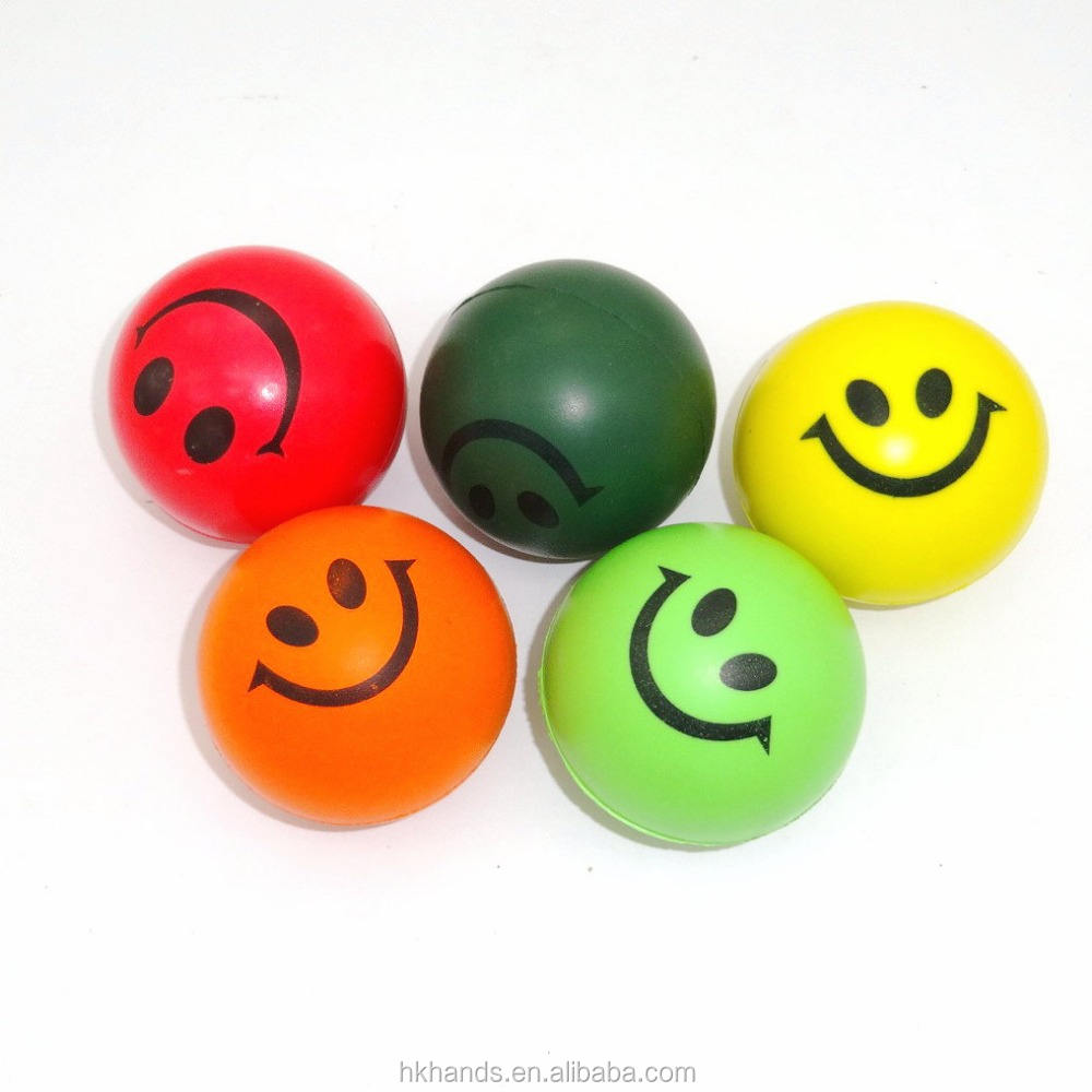 2016 cheap smile printed smily polyurethane pu foam stress ball