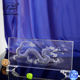 Chinese Mythos Dragon Laser Crystal Glass Cube For Table Decoration