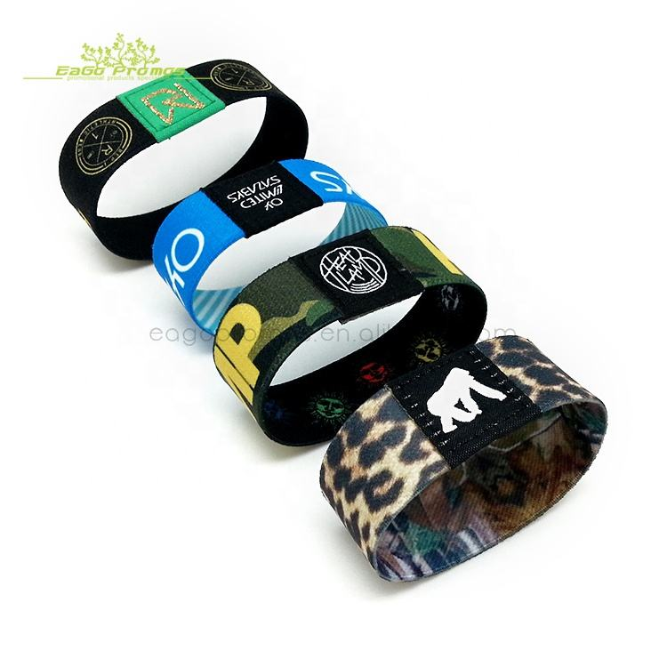 Polyester Custom Printed Sublimation Logo Colorful Fabric Reusable Elastic Wristband for Promotion