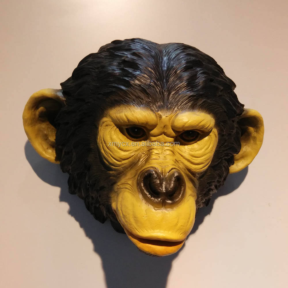 Polyresin wall mount realistic monkey head for home decoration